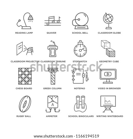Set Of 16 simple line icons such as Writing Whiteboard, School Binoculars, Reading Lamp, Rugby Ball, Video In Browser, Notepad, Greek column, Quaver, editable stroke icon pack, pixel perfect