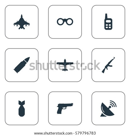 Set Of 9 Simple Military Icons. Can Be Found Such Elements As Field Glasses, Sky Force, Nuke And Other.