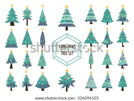set of simple modern flat christmas pine trees with holiday ornaments and star on top - Flat Christmas Tree