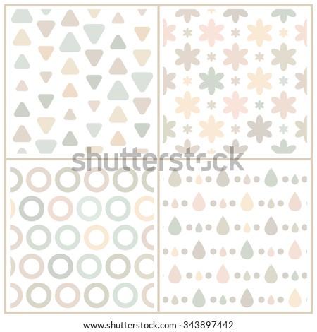 set of 4 simple neutral pale