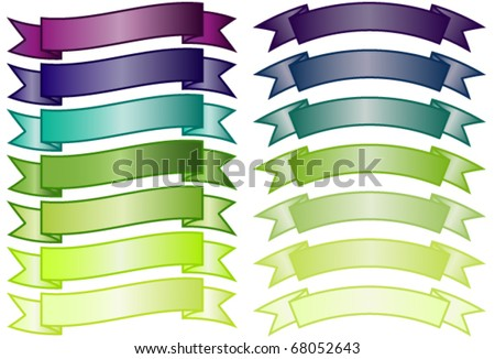 Set of simple non-glossy banners in purple, blue and green gradients