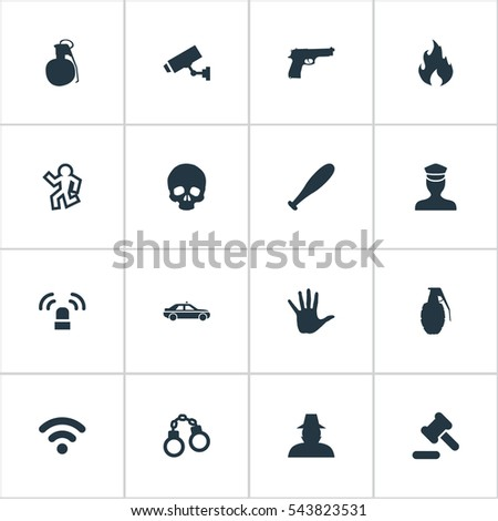 set of 16 simple offense icons