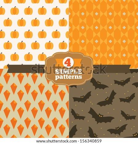Set of simple patterns in one palette (orange, yellow-orange, brown, dark brown, beige)