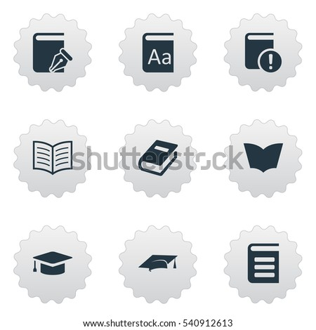 set of 9 simple reading icons