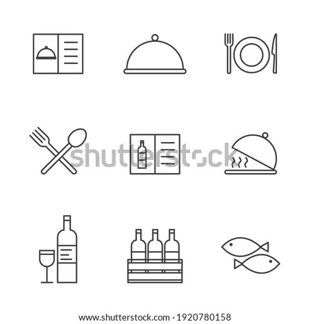 Set of Simple restaurant utensils icon in trendy line style isolated on white background for web apps and mobile concept. Vector Illustration. EPS10 Stock photo ©