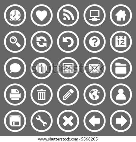 Set of 25 simple round web icons on gray background