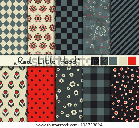 Set of 10 simple seamless patterns Red Little Hood color palette