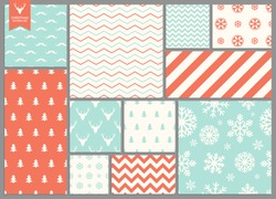 Set of simple seamless retro Christmas colorfull patterns