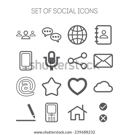 Set of simple social icons