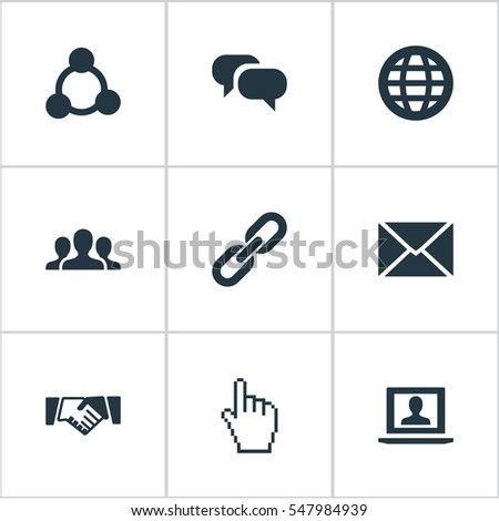 Set Of 9 Simple Social Icons. Can Be Found Such Elements As Chain, Team, Chatting And Other.