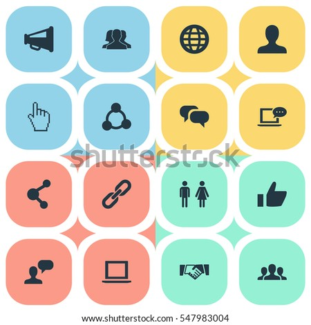 Set Of 16 Simple Social Icons. Can Be Found Such Elements As Genus, Chatting, Cursor And Other.