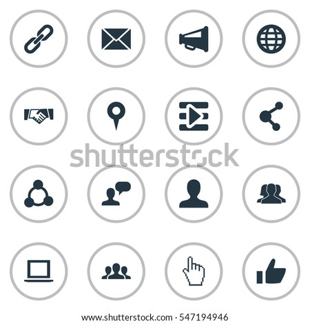 Set Of 16 Simple Social Icons. Can Be Found Such Elements As Notebook, Web, Media Control And Other.