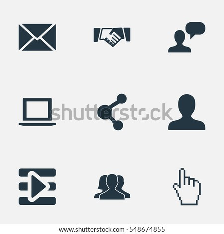Set Of 9 Simple Social Icons. Can Be Found Such Elements As Profile, Chat, Letter And Other.