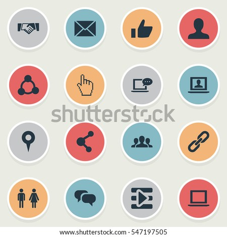 Set Of 16 Simple Social Icons. Can Be Found Such Elements As Team, Chatting, Notebook And Other.