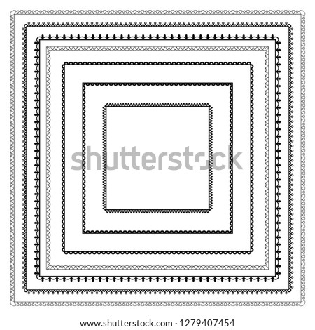 Set of simple square black frames. Inner and outer sides. Ornate borders.