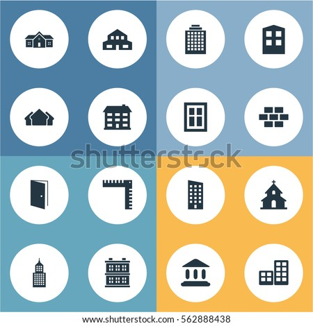 Set Of 16 Simple Structure Icons. Can Be Found Such Elements As Booth, Offices, Stone And Other.