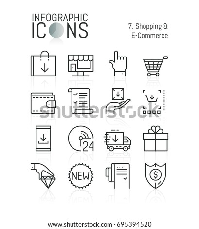 Set of simple thin line icons, shopping and e-commerce: online retailers, electronic shops, internet sales and discounts, express delivery. Vector illustration for website, mobile application, banner.