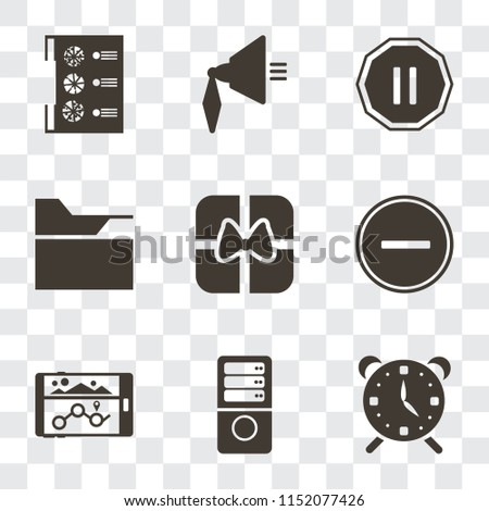 Set Of 9 simple transparency icons such as Alarm, Server, Navigation, Substract, Gift, Folder, Pause, Speaker, Menu, can be used for mobile, pixel perfect vector icon pack on transparent background