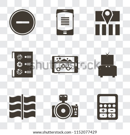 Set Of 9 simple transparency icons such as Calculator, Photo camera, Flag, Television, Navigation, Menu, Map, Smartphone, Substract, can be used for mobile, pixel perfect vector icon pack on