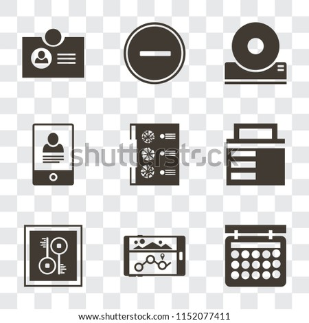 Set Of 9 simple transparency icons such as Calendar, Navigation, Key, Lock, Menu, Smartphone, Compact disc, Substract, Id card, can be used for mobile, pixel perfect vector icon pack on transparent