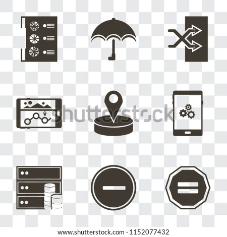 Set Of 9 simple transparency icons such as Equal, Substract, Database, Smartphone, Placeholder, Navigation, Shuffle, Umbrella, Menu, can be used for mobile, pixel perfect vector icon pack on