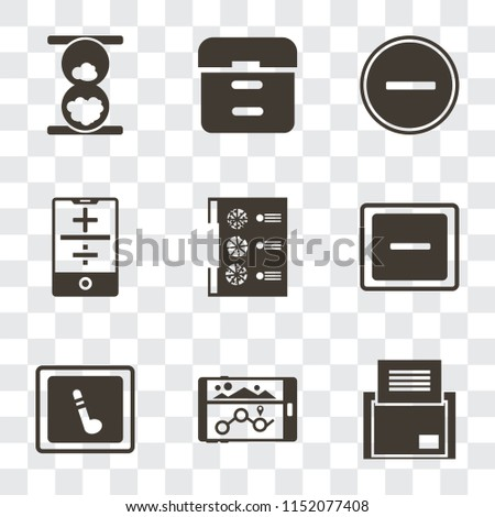 Set Of 9 simple transparency icons such as Folder, Navigation, Music player, Minus, Menu, Smartphone, Substract, Archive, Hourglass, can be used for mobile, pixel perfect vector icon pack on