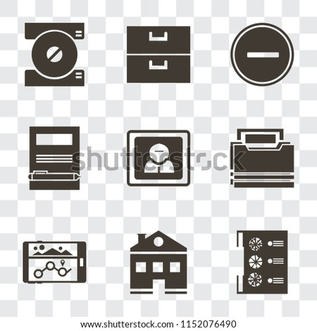 Set Of 9 simple transparency icons such as Menu, Home, Navigation, Folder, User, Notebook, Substract, Archive, Compact disc, can be used for mobile, pixel perfect vector icon pack on transparent