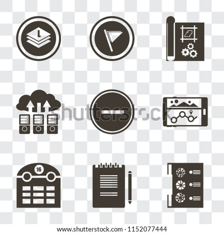 Set Of 9 simple transparency icons such as Menu, Notepad, Calendar, Navigation, Substract, Cloud computing, print, Flag, Layers, can be used for mobile, pixel perfect vector icon pack on transparent