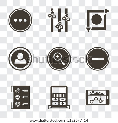 Set Of 9 simple transparency icons such as Navigation, Calculator, Menu, Substract, Zoom in, User, Repeat, Controls, More, can be used for mobile, pixel perfect vector icon pack on transparent