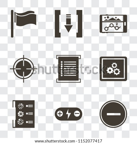 Set Of 9 simple transparency icons such as Substract, Battery, Menu, App, Target, Navigation, Download, Flag, can be used for mobile, pixel perfect vector icon pack on transparent background