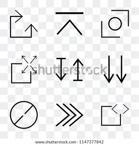 Set Of 9 simple transparent icons such as code, play, ball arrow, bottom arrows, up and down Expand, Glide, Clockwise, can be used for mobile, pixel perfect vector icon pack