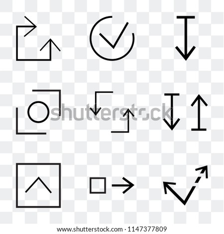 Set Of 9 simple transparent icons such as Diagonal arrow, Drag right, top button, up and down Update, Glide, Expand, Checked, Clockwise, can be used for mobile, pixel perfect vector icon pack