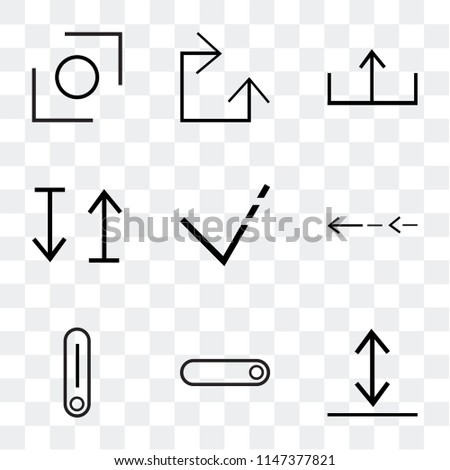 Set Of 9 simple transparent icons such as Download, radio button, Switch, Slim left, arrow, up and down upload, Clockwise, Glide, can be used for mobile, pixel perfect vector icon pack
