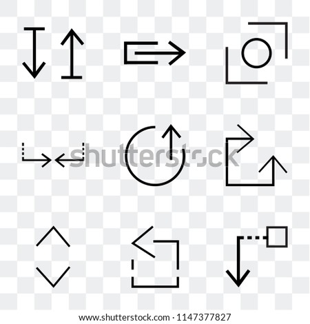 Set Of 9 simple transparent icons such as Drag down, left, Glide, Clockwise, top, Crossroads, Stretch, up and down arrow, can be used for mobile, pixel perfect vector icon pack