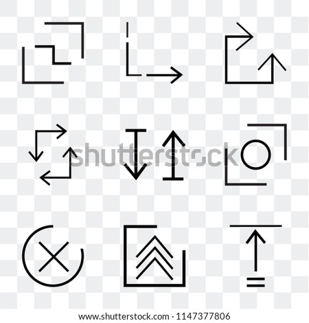 Set Of 9 simple transparent icons such as Fit, Up arrow, close, Glide, up and down update, Clockwise, Return, Button, can be used for mobile, pixel perfect vector icon pack