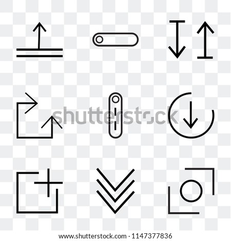 Set Of 9 simple transparent icons such as Glide, down, add, bottom, Switch, Clockwise, up and down arrow, radio button, top can be used for mobile, pixel perfect vector icon pack