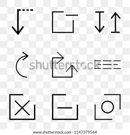 Set Of 9 simple transparent icons such as Glide, Minus, close, Menu, Clockwise, Slide right, up and down arrow, window, down, can be used for mobile, pixel perfect vector icon pack