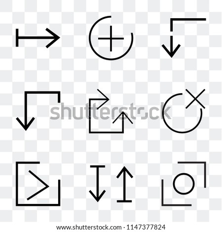 Set Of 9 simple transparent icons such as Glide, up and down arrow, Right close, Clockwise, down, Slim up, plus, right can be used for mobile, pixel perfect vector icon pack