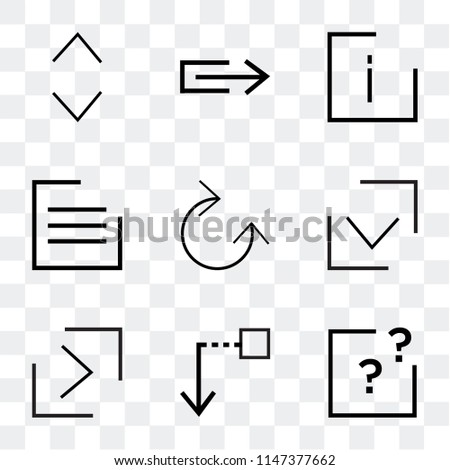 Set Of 9 simple transparent icons such as question mark, Drag down, right button, Checked, Clockwise, menu, info, Stretch, Glide, can be used for mobile, pixel perfect vector icon pack