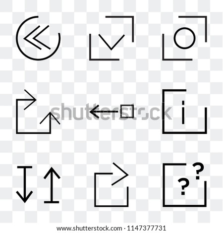 Set Of 9 simple transparent icons such as question mark, right arrow, up and down info, Drag right, Clockwise, Glide, Checked, Rewind, can be used for mobile, pixel perfect vector icon pack