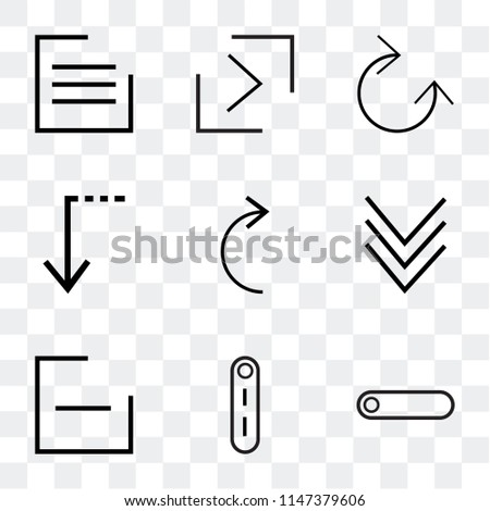 Set Of 9 simple transparent icons such as radio button, Switch, Minus, down, Slide right, Clockwise, right menu, can be used for mobile, pixel perfect vector icon pack