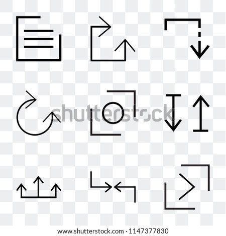 Set Of 9 simple transparent icons such as right button, Diagonal, top arrows, up and down arrow, Glide, Clockwise, Slide down, menu, can be used for mobile, pixel perfect vector icon pack