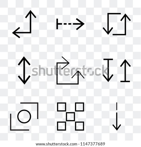Set Of 9 simple transparent icons such as Slim down, buttons, Glide, up and down arrow, Clockwise, Stretch, Update, Right Diagonal can be used for mobile, pixel perfect vector icon pack