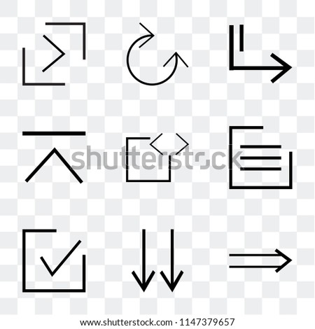 Set Of 9 simple transparent icons such as Slim right, bottom arrows, checked, menu, code, up arrow, Slide Clockwise, right button, can be used for mobile, pixel perfect vector icon pack