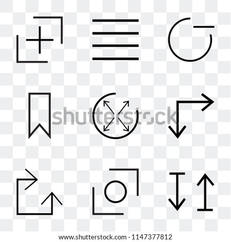 Set Of 9 simple transparent icons such as up and down arrow, Glide, Clockwise, right bottom Expand, Bookmark, minus, menu, plus, can be used for mobile, pixel perfect vector icon pack