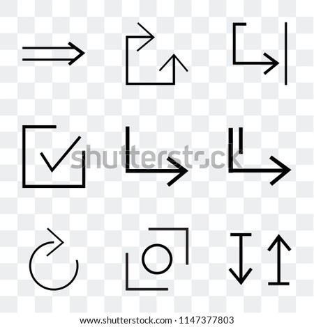 Set Of 9 simple transparent icons such as up and down arrow, Glide, Down Slide right, right checked, Shrink, Clockwise, Slim can be used for mobile, pixel perfect vector icon