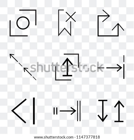 Set Of 9 simple transparent icons such as up and down arrow, Tab, Back, Fit, Shift, Stretch, Clockwise, Delete, Glide, can be used for mobile, pixel perfect vector icon pack