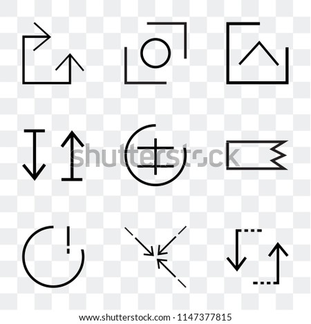 Set Of 9 simple transparent icons such as update, Compress, danger, Right, Command, up and down arrow, Up Glide, Clockwise, can be used for mobile, pixel perfect vector icon pack