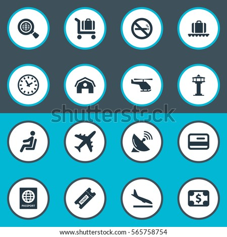 Set Of 16 Simple Transportation Icons. Can Be Found Such Elements As Seat, Alighting Plane, Flight Control Tower And Other.