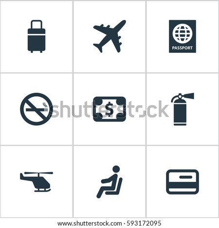 Set Of 9 Simple Transportation Icons. Can Be Found Such Elements As Seat, Credit Card, Certificate Of Citizenship And Other.